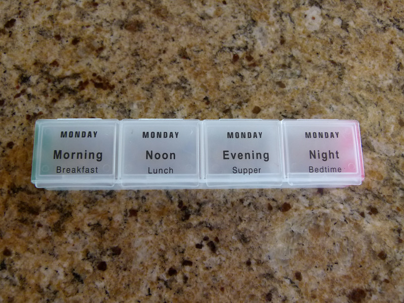 The MedCenter Traveler Pill Organizer has boxes for morning, noon, evening and night.