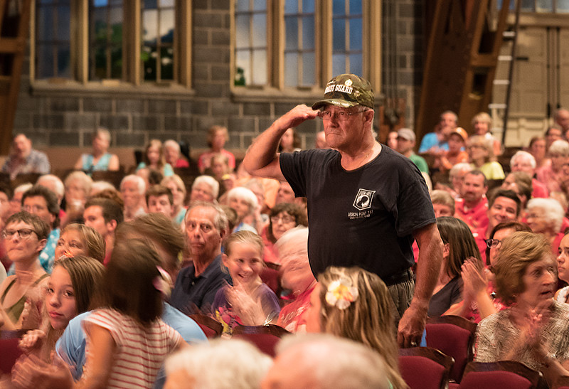 "Although the Armed Forces Medley covers all five services, there are seldom Coast Guard veterans in the audience.  This gentleman's salute for ""Semper Paratus"" made up for that."