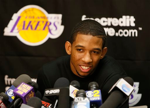 . Los Angeles Lakers point guard Darius Morris talks to reporters during an NBA basketball news conference in El Segundo, Calif., Tuesday, April 30, 2013. The Lakers lost their first-round playoff series to the San Antonio Spurs. (AP Photo/Damian Dovarganes)
