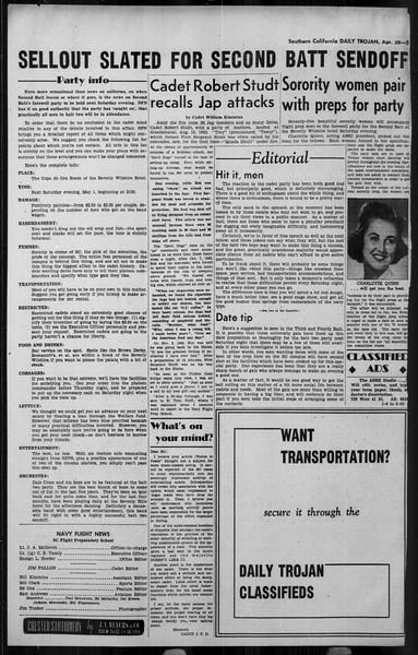Daily Trojan, Vol. 34, No. 135, April 28, 1943