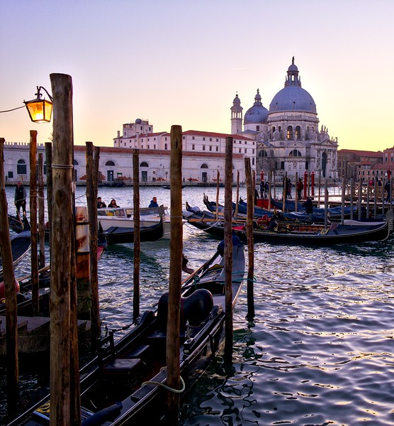 Gondolas in Venice at dusk