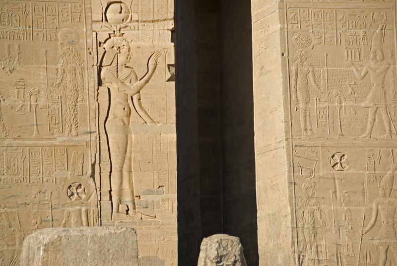 Coptic Cross and Doorway - Philae Temple, Aswan, Egypt