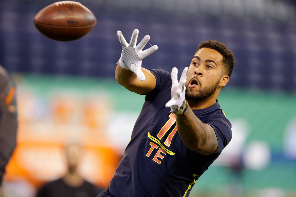 . Clemson tight end Jordan Leggett runs a drill at the NFL football scouting combine in Indianapolis, Saturday, March 4, 2017. (AP Photo/Michael Conroy)