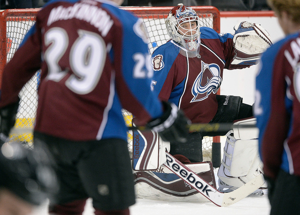 . Colorado goalie Jean-Sebastien Giguere was in goal during warmups Wednesday night.   (Photo by Karl Gehring/The Denver Post)