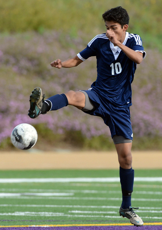 . Baldwin Park\'s Jesus Granados controls the ball against Diamond Bar in the first half of a CIF-SS quarterfinal prep playoff soccer match at Diamond Bar High School in Diamond Bar, Calif., on Thursday, Feb.27, 2014. Baldwin Park won 2-1. (Keith Birmingham Pasadena Star-News)