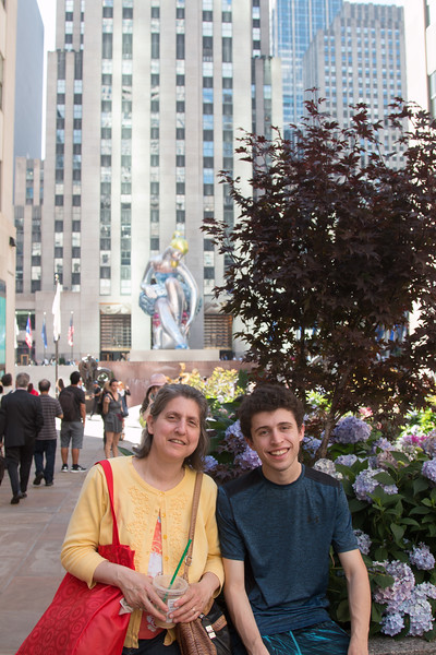 Sheryl and Noah at the plaza outside Rockefeller Center, NYC