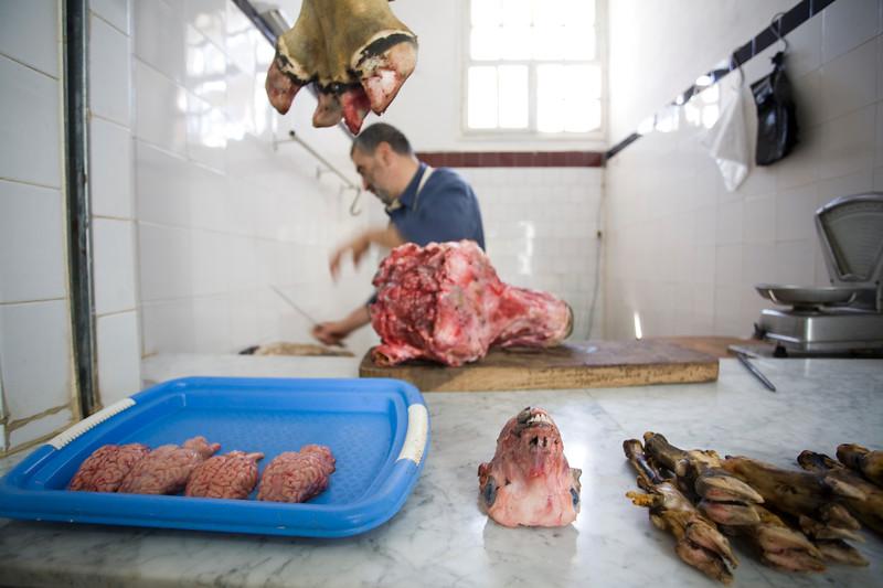 Butcher's shop in a Tetouan market, Morocco