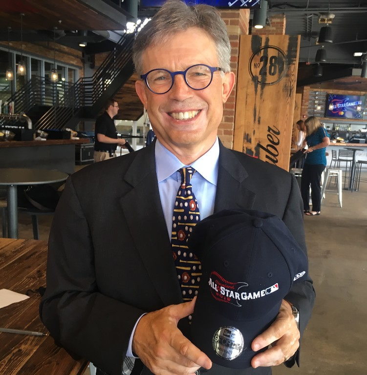 . Cleveland Indians owner Paul Dolan with 2019 All-Star Game official baseball cap. (David S. Glasier - The News-Herald)