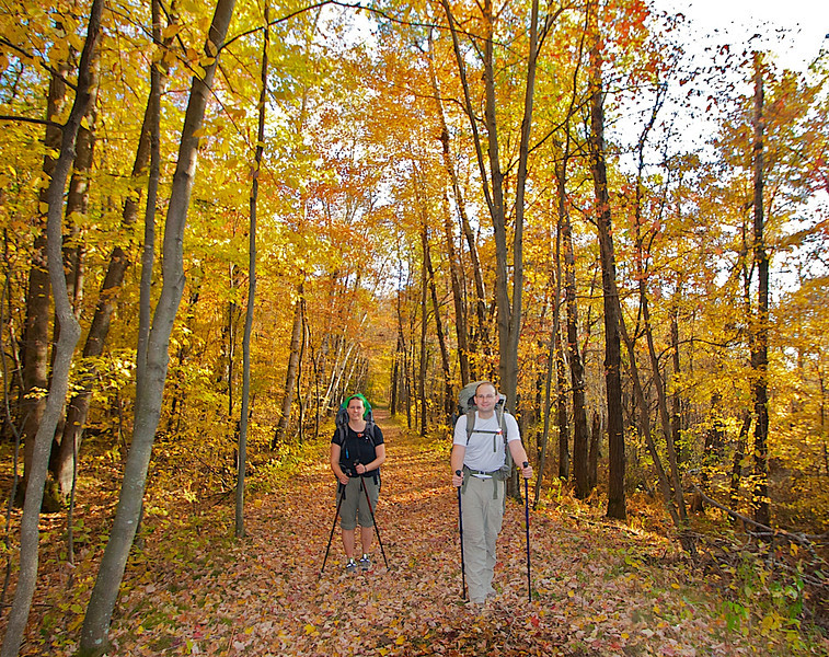 Brian and Jane hiking in Governor Knowles State Forest WI.
