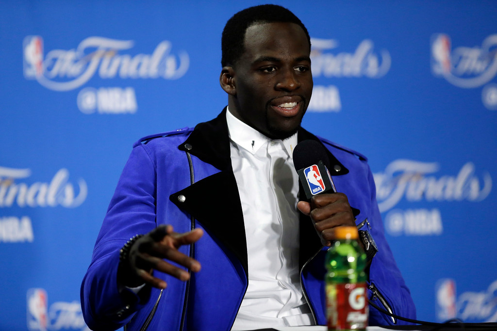 . Golden State Warriors\' Draymond Green answers question after Game 1 of basketball\'s NBA Finals against the Cleveland Cavaliers Thursday, June 1, 2017, in Oakland, Calif. (AP Photo/Ben Margot)