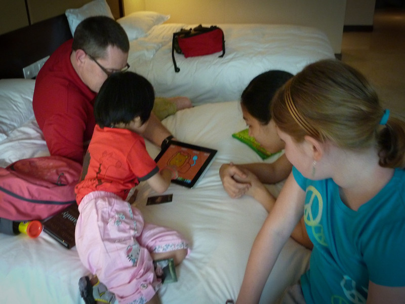 The iPad is a hit - later in the bedroom as we try to connect at some level.