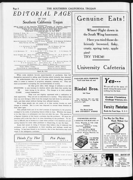 The Southern California Trojan, Vol. 7, No. 106, April 26, 1916