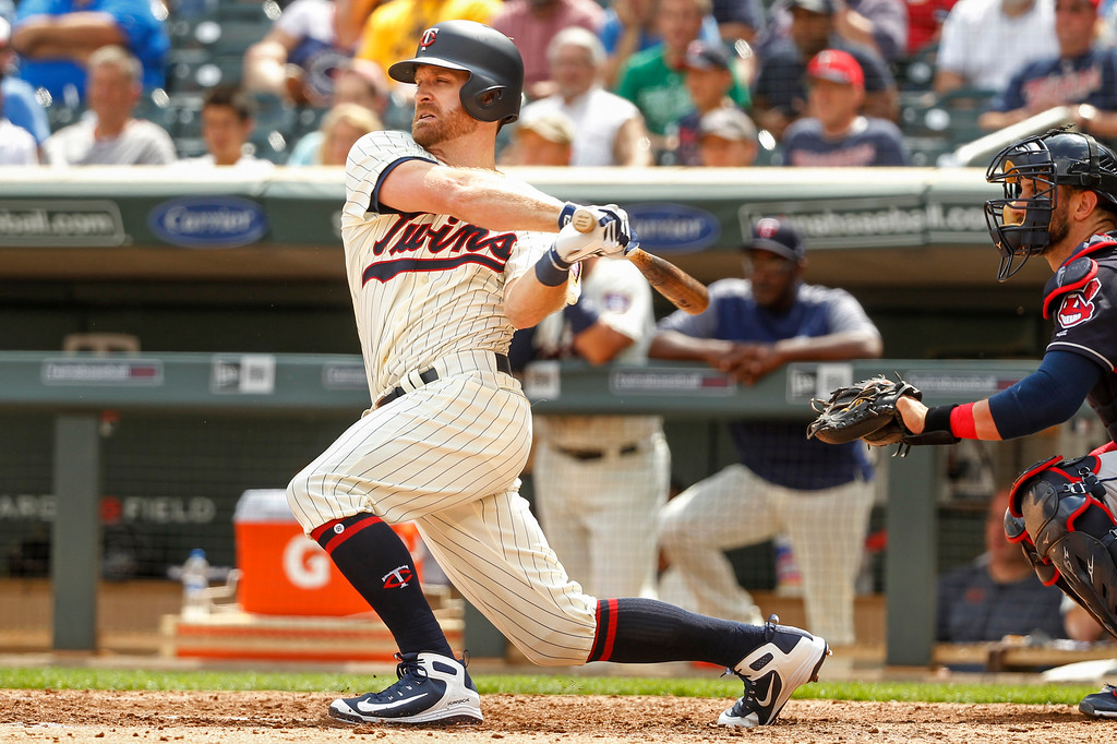. Minnesota Twins\' Logan Forsythe bats against the Cleveland Indians in the eighth inning of a baseball game Wednesday, Aug. 1, 2018, in Minneapolis. The Indians won 2-0. (AP Photo/Bruce Kluckhohn)