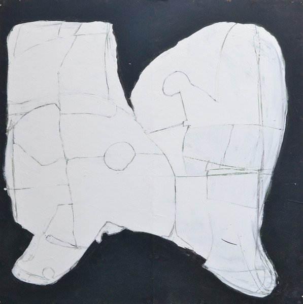 "Graphic Shape, Latex and Charcoal on Wood, 48""h48""w, 1994..jpg"