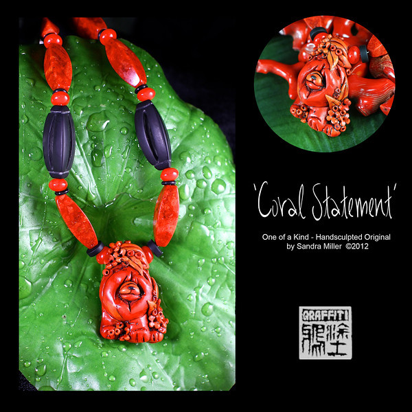 """CORAL STATEMENT Faux and real sponge coral necklace  I have a """"thing"""" for coral as the colors are so varied and rich, they just make you feel warm wearing them.    Since I have never seen a REAL coral chow carving, it became necessary for me to figure out how to create one!!  This little lady is FULL of blended shades of HOT...from coral orange to deep reds.  The bail which the necklace is strung through is actually part of the sculpture and covered in teeny flowers and leaves. The same miniature coral garden surrounds her chubby paws at the bottom of the pendant  The FAUX CORAL I create from polymer clay which was painstakingly layered, thinly sliced and layered again and again to bring out the rich orange/red tones and translucent quality of real branch coral!!! You can see the real coral in the background of many of the photos for comparison.  I even introduce """"fissures"""" and pock marks for that realistic touch!  After firing , the entire pendant was covered in black paint (always a """"cringe"""" moment ) and baked on , followed by hours of sanding and buffing off the paint to reveal the exquisite details of the sculpting beneath. It looks for all the world like finely finished coral without the weight or high price tag of the real deal!!  The necklace is the last of my real sponge coral beads which I purchased in Thailand in 2006 at the Jatuchek Market in Bangkok. What a match to the pendant.  I also added 2 large hand carved matte finished black onyx beads and discs for contrast. Those large beads are carved all the way through!  This one of a kind design is an heirloom of the future and sure to attract many ooohs and ahhhhs wherever you wear her.  PENDANT MEASURES   2""""tall x 1 1/2"""" wide  The necklace can be adjusted from 16-21"""" long with a sterling chain and lobster clasp A Cinnabar carved round at the back of the chain is a perfect neck tickler!!"""