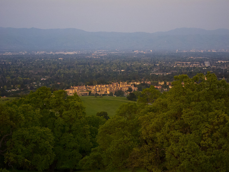 Apr 13: View from Rancho San Antonio of the Santa Clara Valley nearing sunset. Liked how the retirement community picked up the golden light. Post-processing: exposure, contrast,