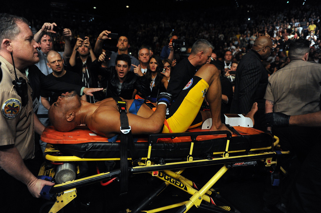 . Challenger Anderson Silva grimces in pain after breaking his leg during his fight against  Champion Chris Weidman  in an attempt to regain the Middleweight Championship during UFC 168 at the MGM Grand Garden Arena in Las Vegas Saturday, December 28, 2013. Weidman won due to injury to Silva. (Photo by Hans Gutknecht/Los Angeles Daily News)