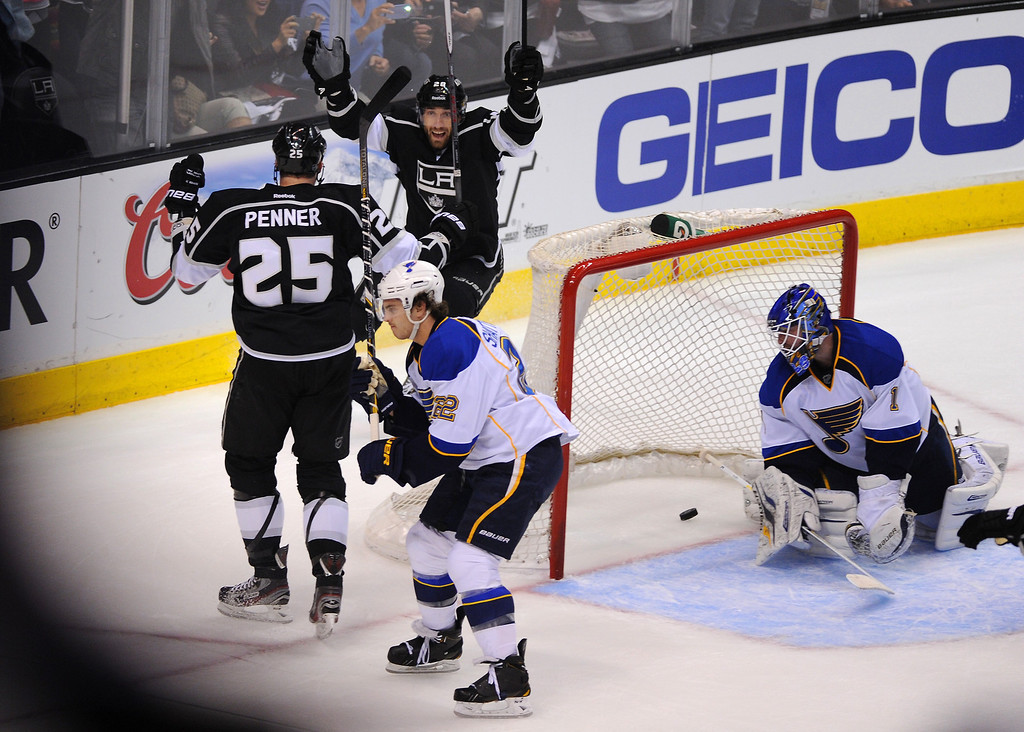 . The Kings\' Dustin Penner celebrates his first period goal with Jarret Stoll against St. Louis Blues, Monday, May 6, 2013, at Staples Center. (Michael Owen Baker/Staff Photographer)