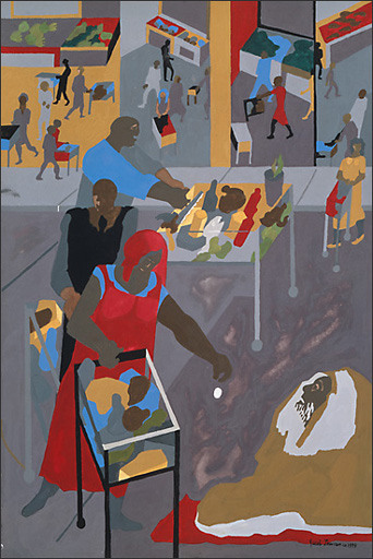 "Jacob Lawrence, ""Supermarket — Gifts for the Homeless"" (1994)"