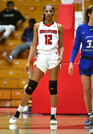 12/21/2019 Mike Orazzi | StaffrThe University of Hartford's Lawrencia Moten (12) during Saturday's women's basketball game with CCSU in West Hartford. r