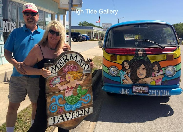 Couple Loves Their Mermaid Tavern Sign