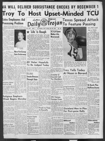 Daily Trojan, Vol. 43, No. 29, October 26, 1951
