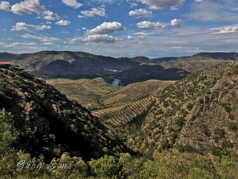 Panoramic view near Barca d'Alva, Portugal overlooking wine vineyards with Portugal to the left and Spain to the right.