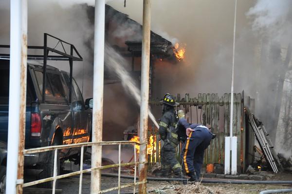 Ninth St, garage fire