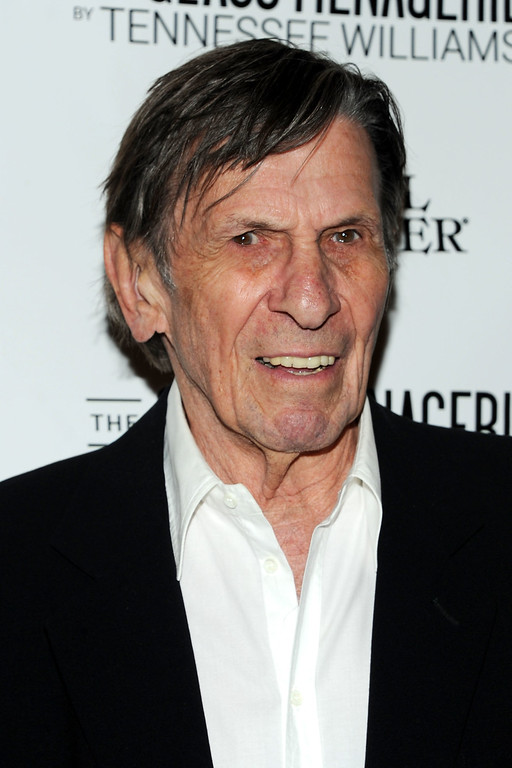 """. Actor Leonard Nimoy attends \""""The Glass Menagerie\"""" Broadway Opening Night at Booth Theater on September 26, 2013 in New York City.  (Photo by Ben Gabbe/Getty Images)"""