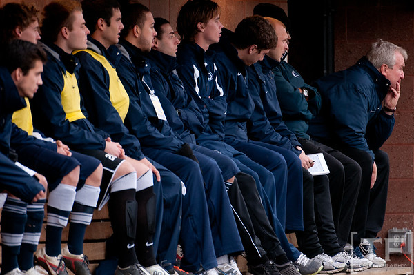 Nov 13, 2011; Ann Arbor, MI, USA; Penn State Nittany Lions head coach Bob Warming (far right) coaches from the sidelines in the first half at the final game of the 2011 Big Ten Championship at Michigan Soccer Stadium. Mandatory Credit: Tim Fuller-US PRESSWIRE