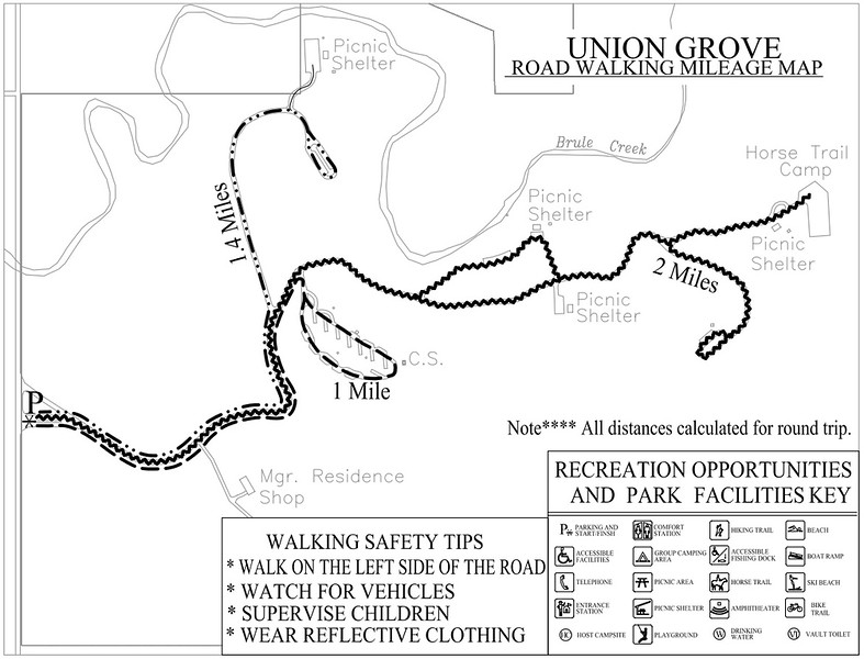 Union Grove State Park (Road Walking Map)