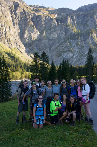 Swiss Semester arriving at Iffigenalp before getting ready to start up the cliffs behind the next day to the Rawil Pass.