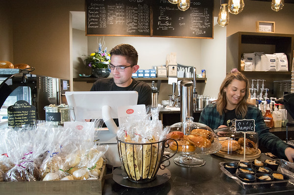 01/27/20 Wesley Bunnell | StaffrrEmployees Nathan Virovoy, L, and Julia Pahl at the Roasted Bean coffee shop. The shop which opened approximately two weeks ago is located at 934 Terryville Ave in Bristol.