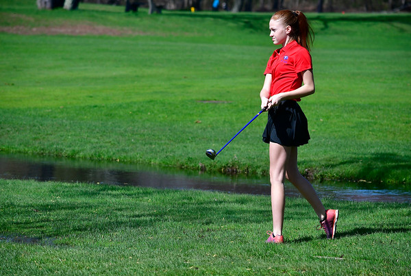 4/23/2019 Mike Orazzi | Staff St. Paul's Samantha Millerick at the Westwoods Golf Course on Tuesday.