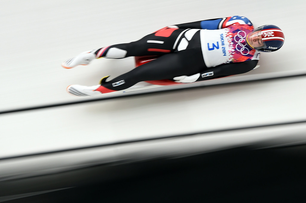 . US Kate Hansen competes during the Women\'s Luge Singles run two at the Sliding Center Sanki during the Sochi Winter Olympics on February 10, 2014. AFP PHOTO / LEON NEAL/AFP/Getty Images