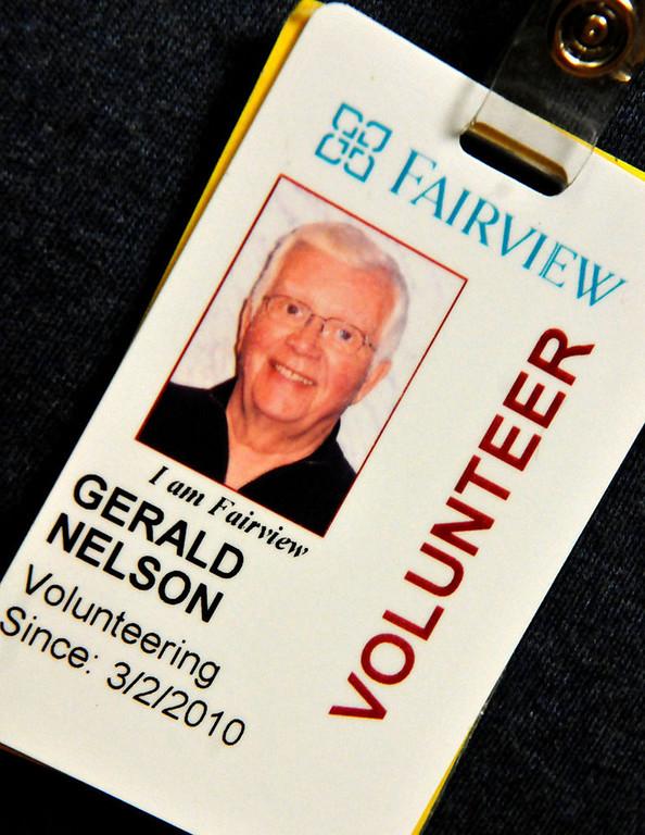 . Hospital ID for volunteer Jerry Nelson. (Pioneer Press: John Doman)