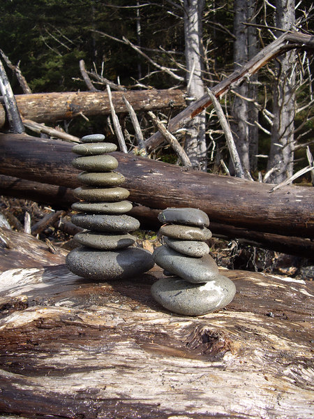 Twin cairns.