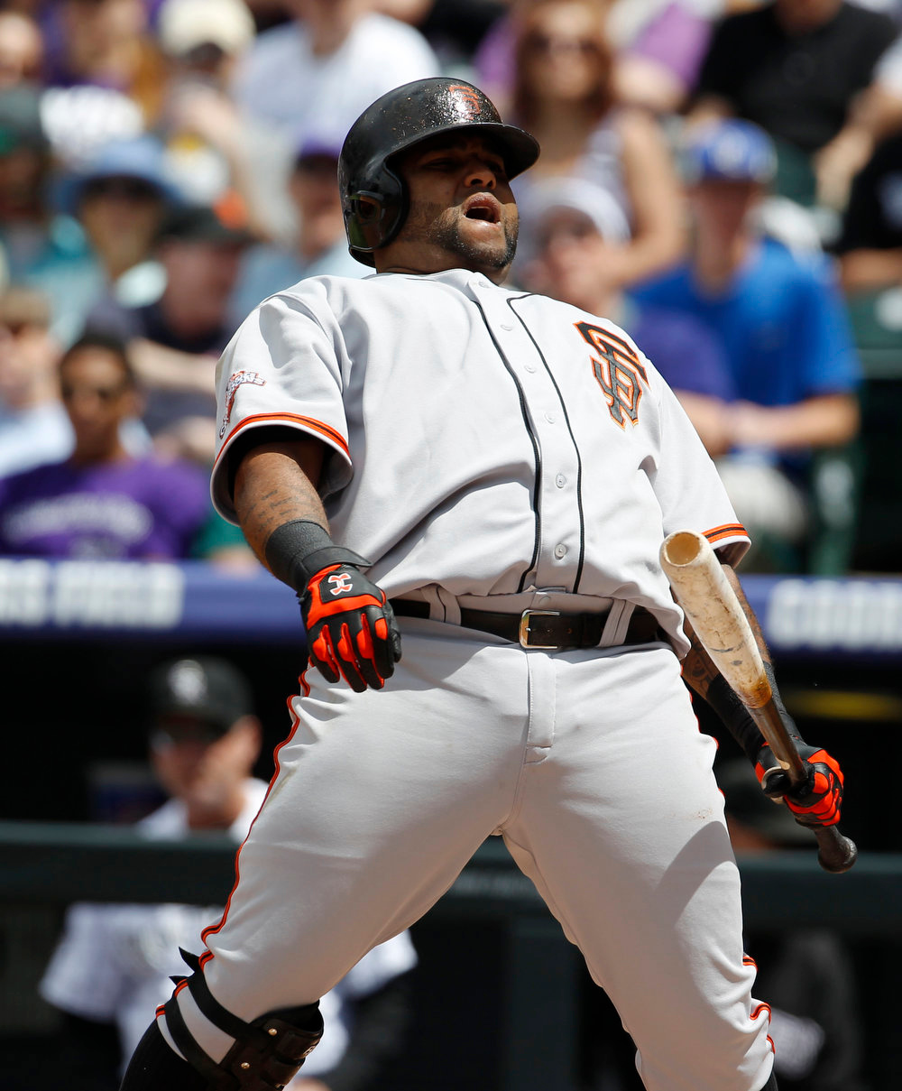 . San Francisco Giants\' Pablo Sandoval reacts after being called out on strikes against the Colorado Rockies to close out the top of the first inning of a baseball game in Denver on Sunday, May 19, 2013. (AP Photo/David Zalubowski)