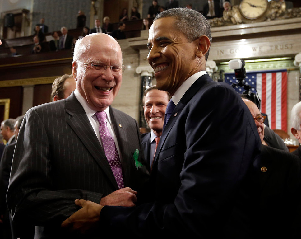 . Sen. Patrick Leahy, D-Vt. greets President Barack Obama after the president gave his State of the Union address during a joint session of Congress on Capitol Hill in Washington, Tuesday Feb. 12, 2013. (AP Photo/Charles Dharapak, Pool)