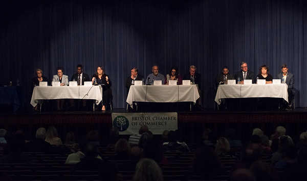 10/22/19 Wesley Bunnell | StaffrrCandidates for mayor and City Council met on Tuesday night at St. Paul Catholic High School's Auditorium for a question and answer forum for council candidates followed by a mayoral debate. All candidates sit at their districts table representing the three districts in Bristol.