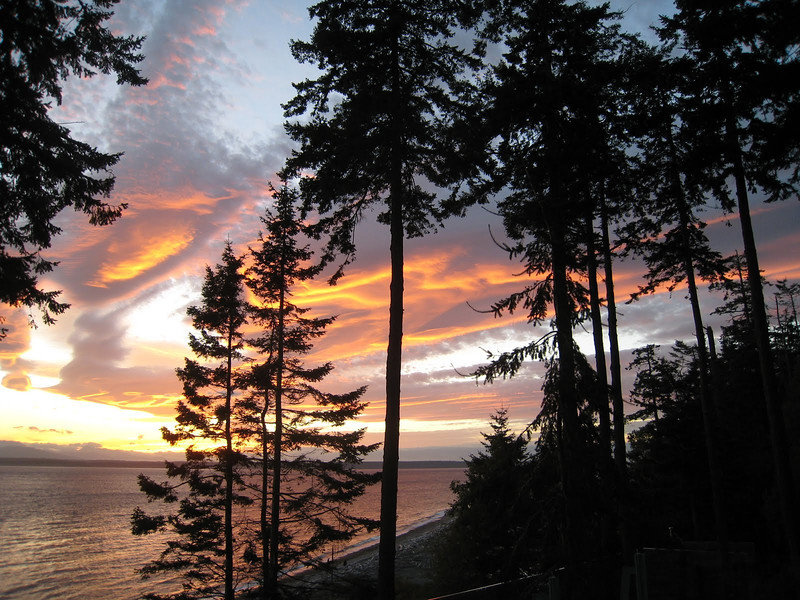 Beautiful sunset from the deck of our Whidbey Island house