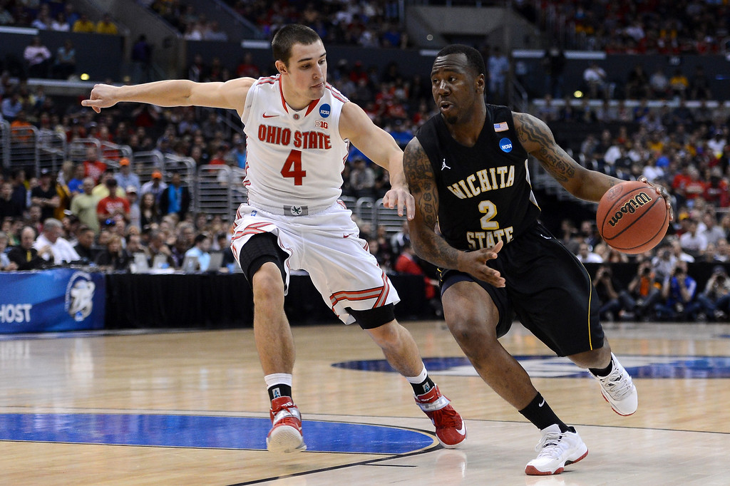 . LOS ANGELES, CA - MARCH 30:  Malcolm Armstead #2 of the Wichita State Shockers drives on Aaron Craft #4 of the Ohio State Buckeyes in the first half during the West Regional Final of the 2013 NCAA Men\'s Basketball Tournament at Staples Center on March 30, 2013 in Los Angeles, California.  (Photo by Harry How/Getty Images)