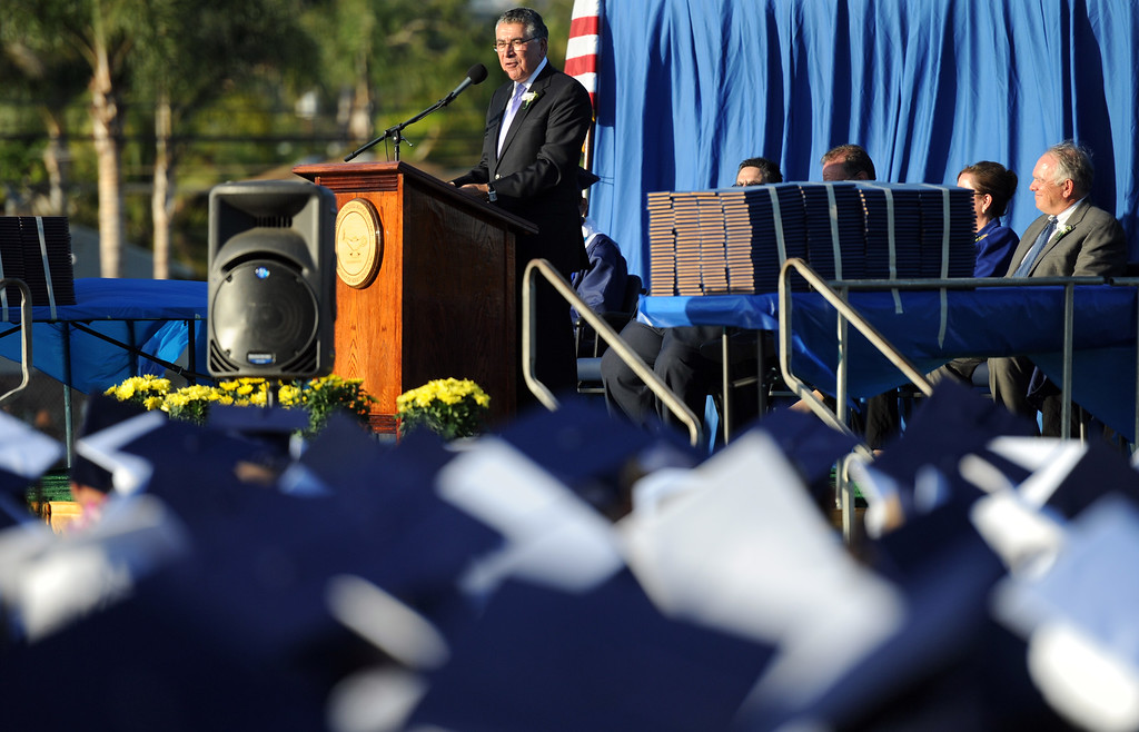 . Guest speaks and 1967 Montebello High School graduate, Mr. Richard Cordova during the Montebello High School commencement at Montebello High School on Thursday, June 20, 2013 in Montebello, Calif.  (Keith Birmingham/Pasadena Star-News)