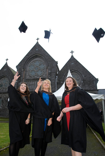"4/1/2012. News. Waterford Institute of Technology (WIT), conferring ceremony. From Left, Tivoli Swail, Wicklow, Ciara O'Donoghue, Clonmel and Sandra Watchorn, Kilkenny who graduated in Bachelor of Business in Recreation and Sport management. Photo Patrick Browne  Upbeat mood at WIT's conferring ceremonies  An optimistic note has been signaled by Mr Tony McFeely, Acting President of Waterford Institute of Technology (WIT), at the first of 11 conferring ceremonies across three days during which 2,652 students were conferred with academic degrees up to doctorate level.  In his conferring address, Mr McFeely said: ""We cannot ignore the dark economic clouds that have surrounded the country for the past few years. Job opportunities are not as readily available as they once were. However, your academic achievements should instill a sense of self-confidence. I would encourage you to remain positive and optimistic despite the general gloom. These times will pass; they always do.""  ""We Irish are a resilient people; you are the potential leaders of the future so it's incumbent on you to remain strong and positive,"" continued Mr McFeely. He urged today's graduates to remember the words of Apple founder Steve Jobs at a Stanford graduation in 2005: ""Your time is limited, so don't waste it living someone else's life. Don't be trapped by dogma, which is living with the results of other people's thinking. Don't let the noise of others' opinions drown out your own inner voice. And most important, have the courage to follow your heart and intuition.""  WIT's Chairman, Dr Donie Ormonde, continued the positive theme in his remarks: ""In the modern economy skills and competencies are the tradable commodities that enhance your life experiences and enhance the creative edge of economic and social development. Ireland's capacity to bounce back is directly related to the education and skills infrastructure that it has built. Ireland is an international leader in educational attainment and it is this that will provide the stepping stone to recovery.""  Thirteen PhD students were awarded doctorates and six new programmes were conferred for the first time, including the Bachelor of Arts (Honours), Bachelor of Science (Honours) in Airline Transport Operations, Bachelor of Science in Food Science with Business and Higher Certificates in Arts in Hospitality Studies, Business in Tourism and Culinary Arts.  Of the total 2,652 graduates being conferred with academic awards up to doctorate level, 1,044 are from Waterford City and County. However, WIT graduates hail from all 26 counties of Ireland with Wexford (338), Kilkenny (282), Tipperary (217), and Cork (102) being the next most frequent home addresses.  The strength of WIT's academic portfolio and research capacity was reflected in the President's closing remarks when he urged all graduates to give their support to the Institute in achieving its ultimate goal – becoming the Technological University of the South East, a goal to which the current Government has stated its commitment.   Ends"