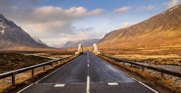 Remote road bridge in the Scottish Highlands