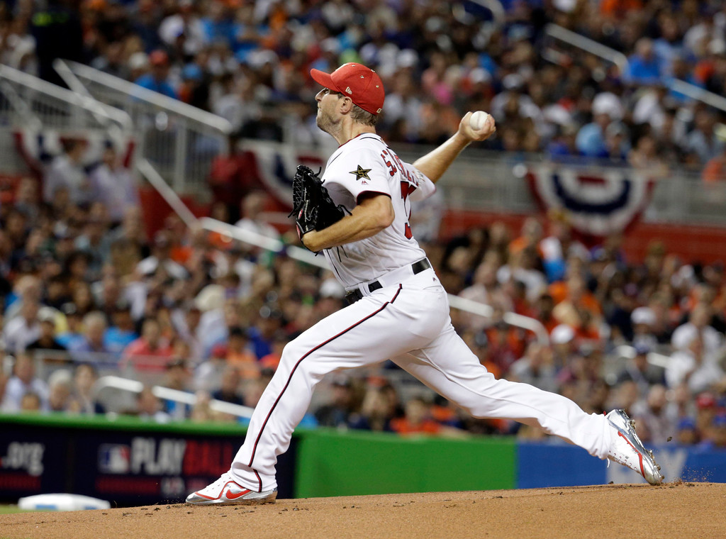 . National League\'s Washington Nationals pitcher Max Scherzer (31), throws during the first inning at the MLB baseball All-Star Game, Tuesday, July 11, 2017, in Miami. (AP Photo/Lynne Sladky)