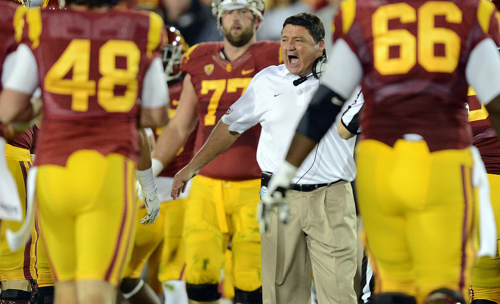 . USC coach Ed Orgeron during their game against Stanford at the Los Angeles Memorial Coliseum Saturday, November 16, 2013. (Photos by Hans Gutknecht/Los Angeles Daily News)