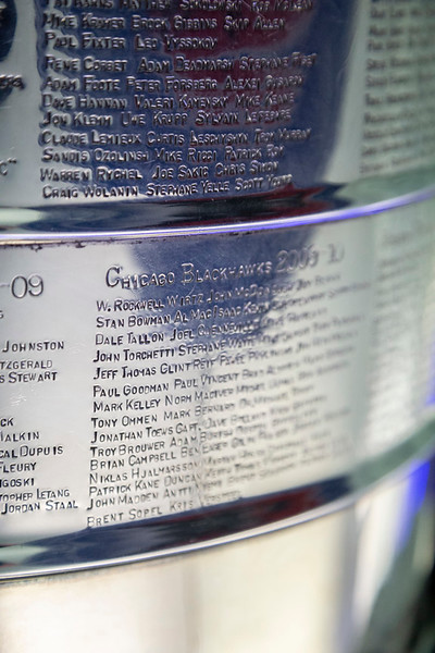 2009-10 Blackhawks plate on the Stanley Cup.