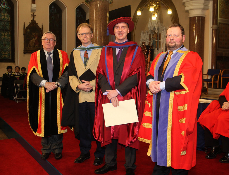 Pictured is Leigh Griffin, Waterford who was conferred a Doctor of Philosophy, also pictured is Dr Donie Ormonde, WIT Chairman, Eamonn de Leaster, WIT Lecturer, Dr. Derek O'Byrne, Registrar of WIT. Picture: Patrick Browne.