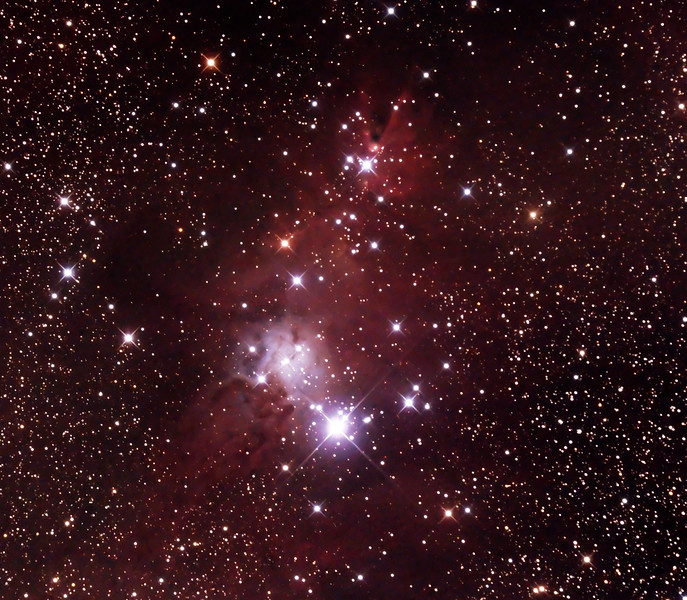 NGC2264 - Christmas Tree Cluster and Cone Nebula - 27/12/2014 (Processed stack)